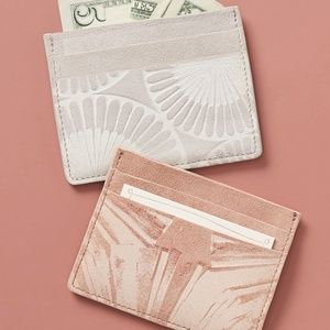 Anthropologie Penny Card Holder Peach 100% Suede